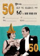 Jelly n Bean Champagne 50th Birthday Invitations - Pack of 20